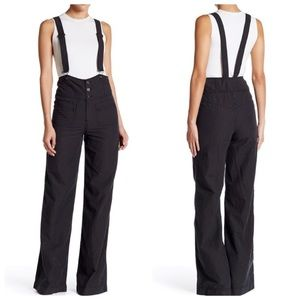 Free people striped flare overalls